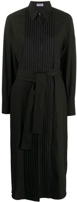 Brunello Cucinelli Pleated Bib Belted Shirt Dress