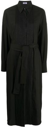 Brunello Cucinelli Pleated Bib Belted Shirt Dress
