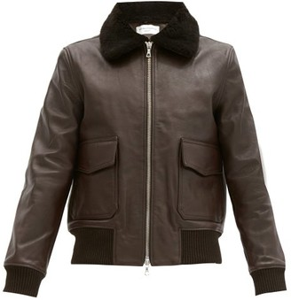 Officine Generale John Shearling-collar Leather Bomber Jacket - Brown