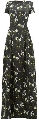 Erdem Alphonse Daffodil Dity-print Satin-twill Gown - Womens - Black Print