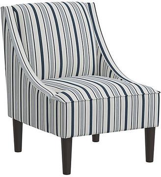 One Kings Lane Quinn Swoop-Arm Chair - Finn Stripe Navy