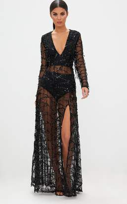 PrettyLittleThing Black Sequin Long Sleeve Maxi Dress