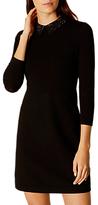 Karen Millen Crystal Collar Knit Dress, Black