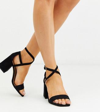 Wanderlust ASOS DESIGN Wide Fit heeled sandals in black