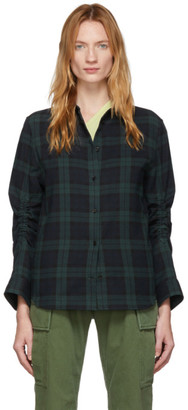 pushBUTTON Green and Navy Plaid Shirt