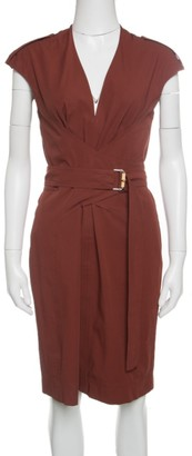 Gucci Brown Stretch Cotton Belted Horsebit Buckle Detail Dress M