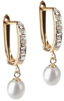 Diamond 14K Yellow Gold Accent Hinged Hoop With Pearl Drop - Yellow