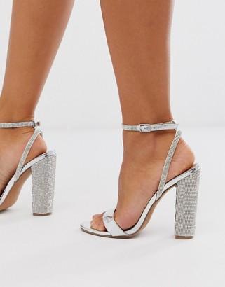 ASOS DESIGN Hot Step embellished block heeled sandals in silver