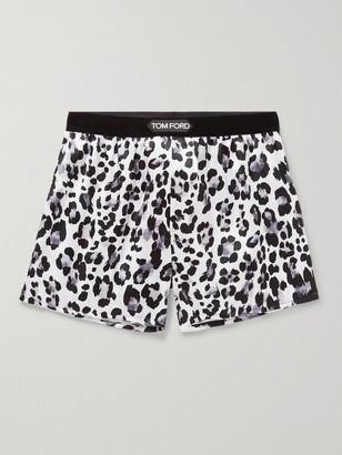 Tom Ford Velvet-Trimmed Leopard-Print Stretch-Silk Satin Boxer Shorts