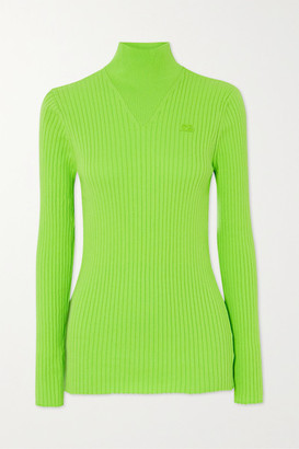 Courreges Embroidered Ribbed Cotton Turtleneck Sweater - Bright green
