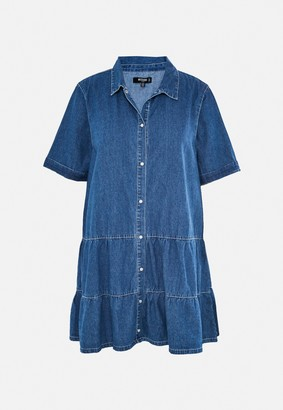 Missguided Plus Size Blue Tiered Denim Smock Dress