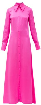 Halpern Silk-satin Shirt Dress - Pink