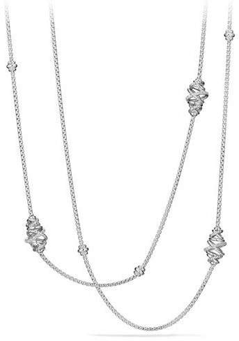 David Yurman Crossover Sterling Silver Station Necklace with Diamonds, 36""