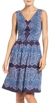 Maggy London Petite Women's Feather Print Fit & Flare Dress