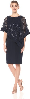 R & M Richards R&M Richards Women's Short Laced Poncho Dress Missy