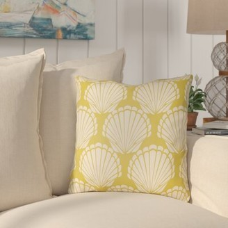 """Courtland Shell Indoor/Outdoor Throw Pillow Highland Dunes Size: 22"""" H x 22"""" W, Color: Bright Yellow/Ivory"""