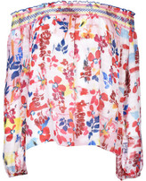 Tanya Taylor Floral Burst Smocked Nessa Top