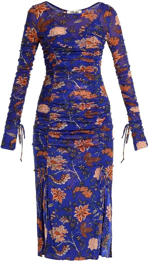 Diane von Furstenberg Canton floral-print ruched dress