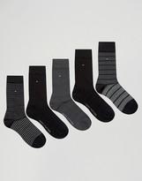 Tommy Hilfiger 5 Pack Sock In Gift Box Black