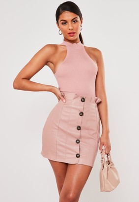 Missguided Pink Faux Leather Paper Bag Mini Skirt