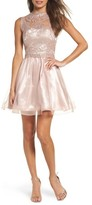 Sequin Hearts Women's Lace Illusion Fit & Flare Dress