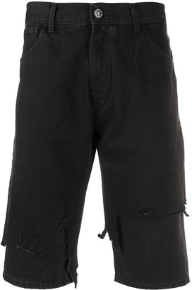 Raf Simons Destroyed Slim-Fit Denim Shorts