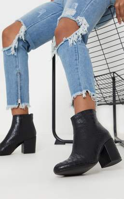 PrettyLittleThing Black Croc Zip Back Ankle Boot