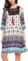 Meaneor Women's Bohemian Vintage Printed Loose 3/4 Sleeve Tunic Dress S