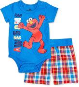 Nannette 2-Pc. Awesome Elmo Bodysuit & Plaid Shorts Set, Baby Boys (0-24 months)