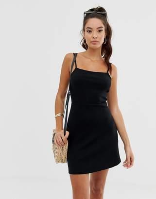 Asos Design DESIGN square neck rib mini sundress in black