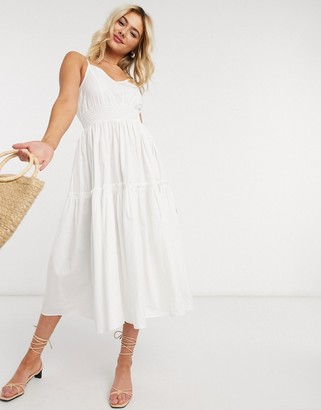 Selected cami midi dress with tiered skirt in white