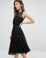 French Connection Winter Ray Chiffon Drape Midi Dress