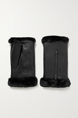 Agnelle Barbara Faux Fur-lined Leather Wrist Warmers - Black