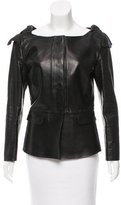 Burberry Ruched Leather Jacket