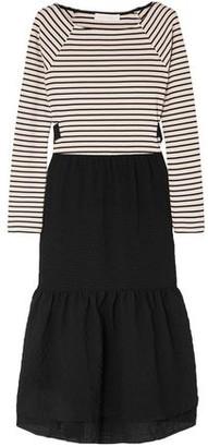 See by Chloe Tie-back Striped Jersey And Seersucker Midi Dress