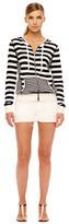 MICHAEL Michael Kors Striped Zip-Front Sweater