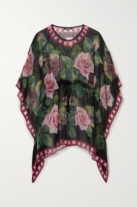 Dolce & Gabbana Floral-print Silk-chiffon Kaftan - Black