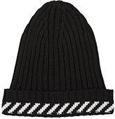 Off-White Men's Stripe-Detailed Virgin Wool-Blend Beanie-BLACK