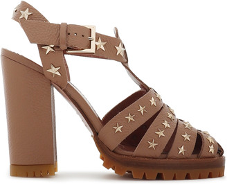 Red(v) Cutout Studded Textured-leather Sandals