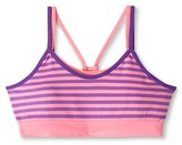 Circo Girls' Seamless Striped Reversible Sports Bra Pink