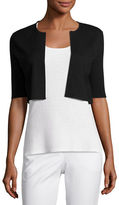 Neiman Marcus Superfine Ribbed Elbow-Sleeve Shrug