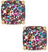 Kate Spade Gold-Tone Small Square Glitter Stud Earrings
