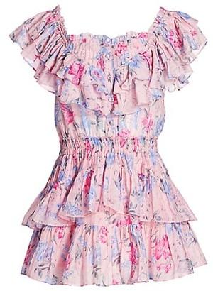 LoveShackFancy Fatima Floral Ruffle Mini Dress