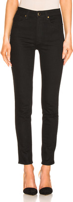 KHAITE Vanessa High Rise Straight Jean in Black | FWRD