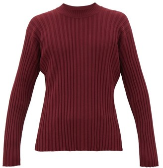 Deveaux Ribbed Jacquard-knit Sweater - Mens - Burgundy