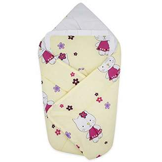 Camilla And Marc BlueberryShop Cotton Baby Swaddle Wrap Bedding Blanket with Pillow | Sleeping Bag for Newborns | Intended for Kids Aged 0-3 Months | Perfect as a Baby Shower Gift | 78 x 78 cm | Cream Kitty