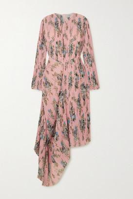 Preen by Thornton Bregazzi Delaney Asymmetric Floral-print Plisse-georgette Dress - Pink