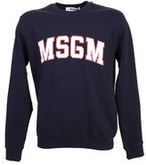 MSGM Printed Dark Blue Cotton Sweater