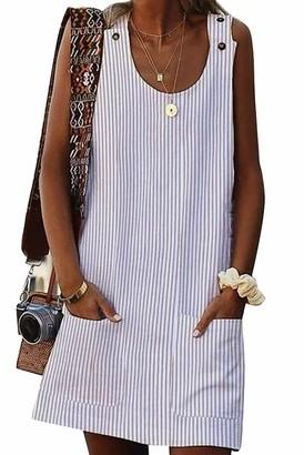Yieune Summer Dress for Women Cotton Sleeveless Dress Casual Beach Dress Sundress (Beige M)