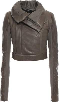 Rick Owens Cropped Knit-paneled Textured-leather Biker Jacket
